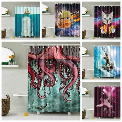 "71"" Waterproof Fabric Shower Decor W/ Hooks Set"