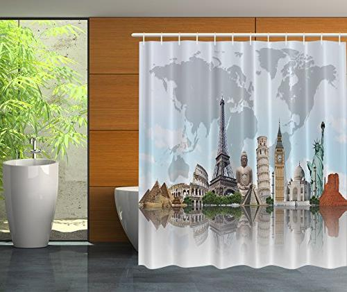 Ambesonne Shower Curtain City Decor by, Cityscape World Monu