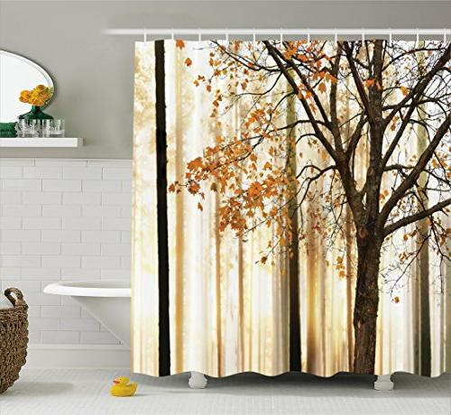 Ambesonne Shower Curtain Fall Trees Print Mom Gift Ideas Pol