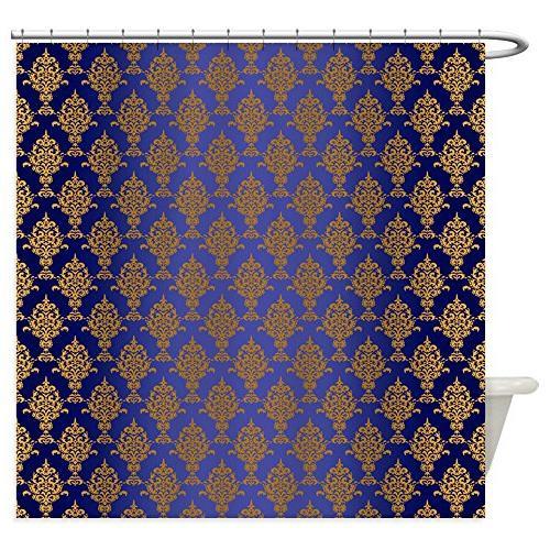 CafePress - Damask Gold On Royal Blue - Decorative Fabric Sh