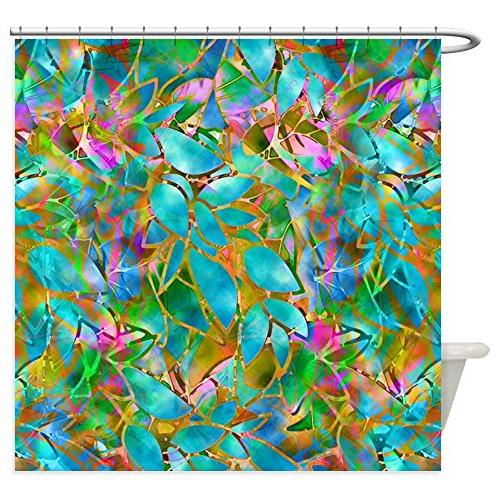 CafePress - Floral Stained Glass 1 - Decorative Fabric Showe