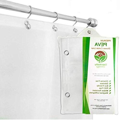 Clean Healthy Living Premium PEVA Shower Curtain Liner with