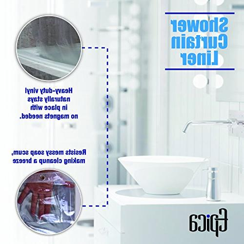 Epica Mildew Resistant Shower Liner the Anti-Bacterial Gauge Heavy Duty Inches-Clear