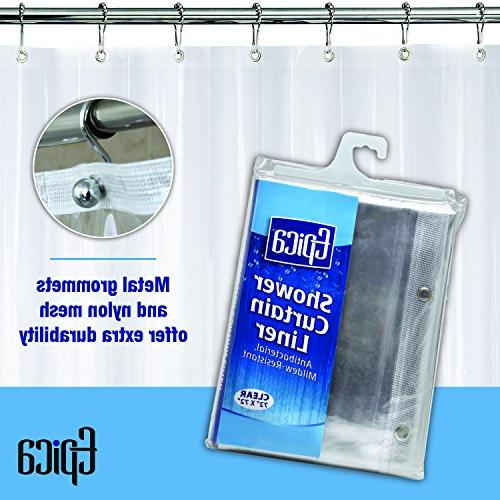 Epica Mildew Shower the Gauge Heavy Liner-Waterproof-72x72 Inches-Clear