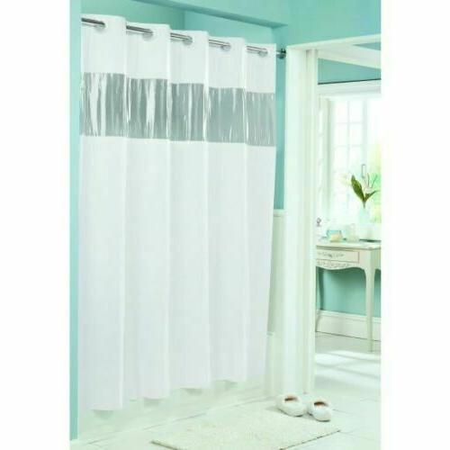 Hookless Clear Shower Curtain.Hookless Hbh08vis01 Vision Shower Curtain White With Clear