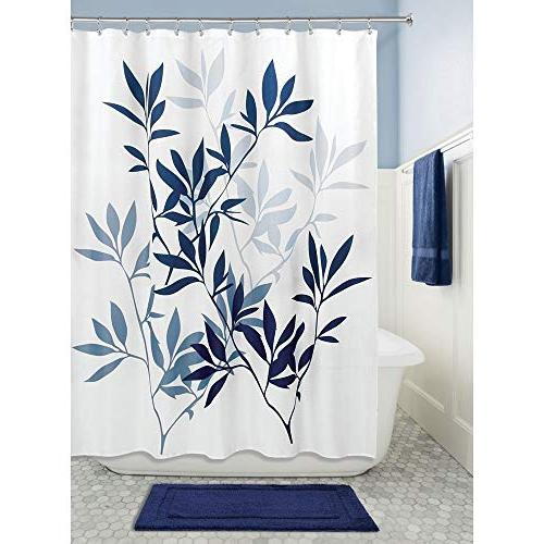 InterDesign Leaves Shower 72 x 72 Inches Blue White
