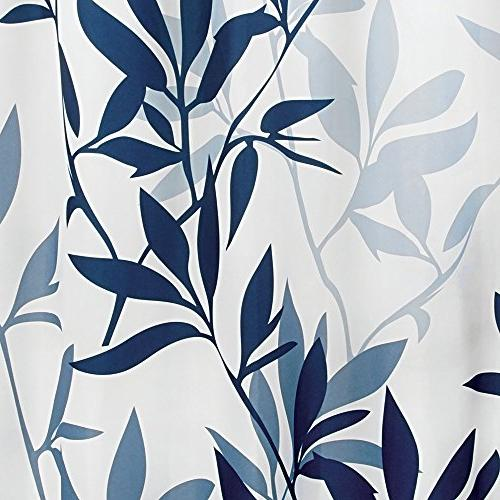 InterDesign Leaves Fabric Bathroom Shower 72 72 Inches Blue and White