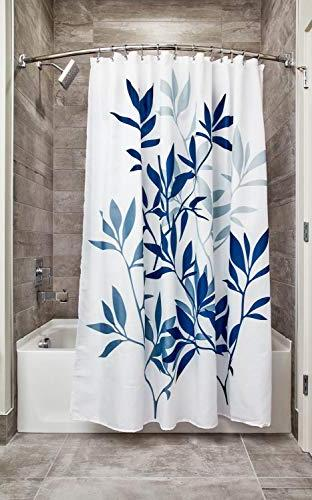 InterDesign Leaves Fabric Bathroom Shower Curtain 72 72 Inches Blue and White