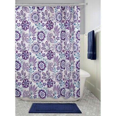 "InterDesign Luna Floral Fabric Shower Curtain, 72"" X 72"" - P"