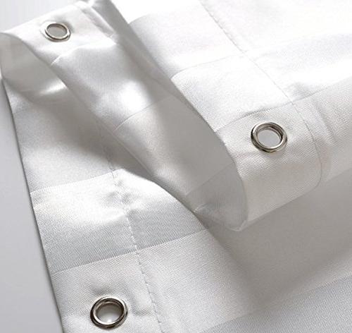 Kimberly-Carr SHOWER CURTAIN Hotel Quality Washable White Damask Stripe, Friendly, Size