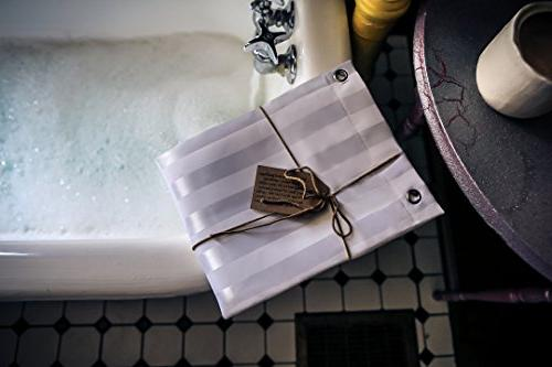 Kimberly-Carr Home SHOWER LINER Hotel Mildew Washable White Damask Stripe, Friendly,