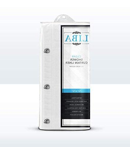 LiBa Resistant PEVA 8G Shower Liner, Clear Non Toxic, Chemical Odor, Rust Grommets
