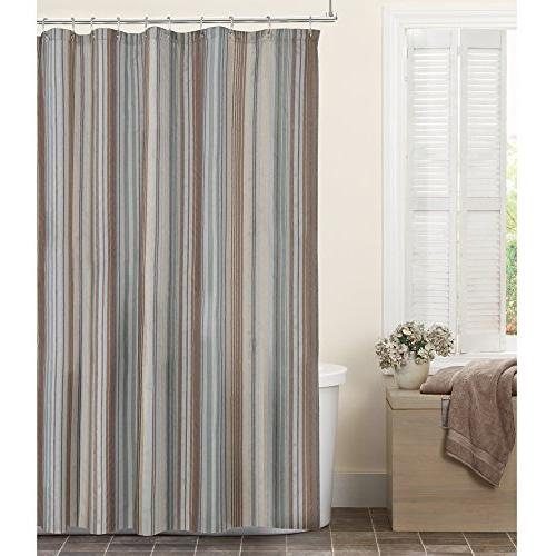 MAYTEX Jodie Chenille Striped Fabric Shower Curtain, 72X72