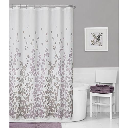 Maytex Sylvia Printed Faux Silk Shower Curtain, Purple