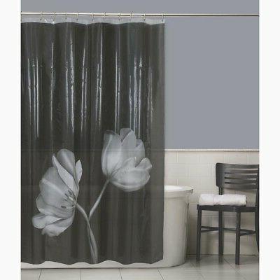 Maytex Tulip Photoreal Vinyl PEVA Shower Curtain, Black