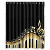 Musical Notes With Piano Waterproof Fabric Polyester Bathroo
