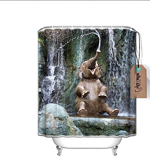 Set Shower Curtain Bath Fabric Home Decor Waterproof Animal