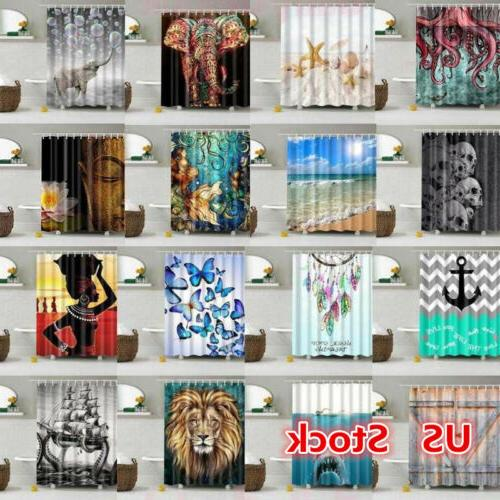 USA Waterproof Bathroom Shower Curtain Sheer Hanging Panel 1