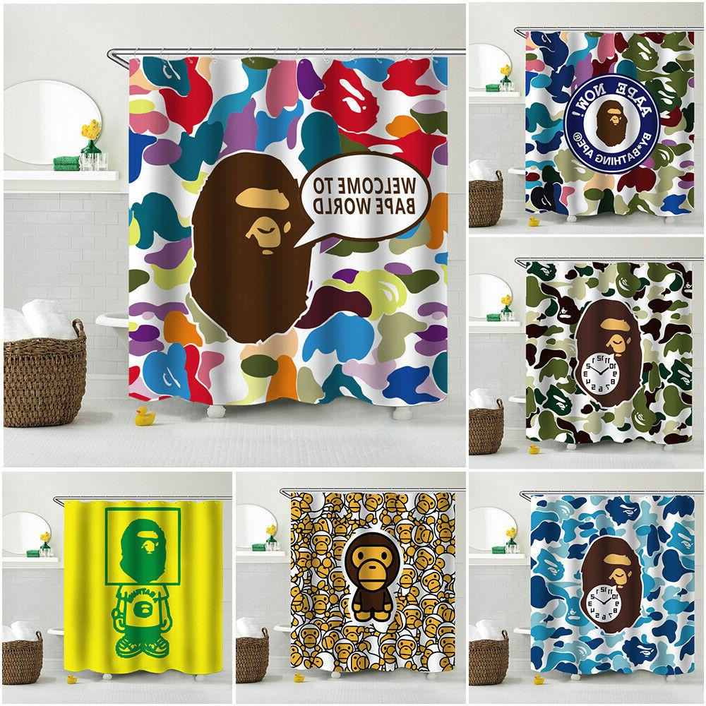 a bathing ape waterproof shower curtain dorm
