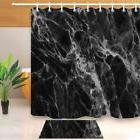 Abstract Black and White Marble Pattern Shower Curtain Set W