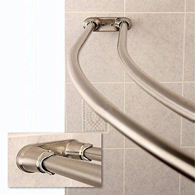Adjustable Double Curved Curtain Rod Crescent Satin Nickel