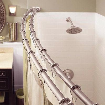 Adjustable Curved Shower Curtain Satin Nickel