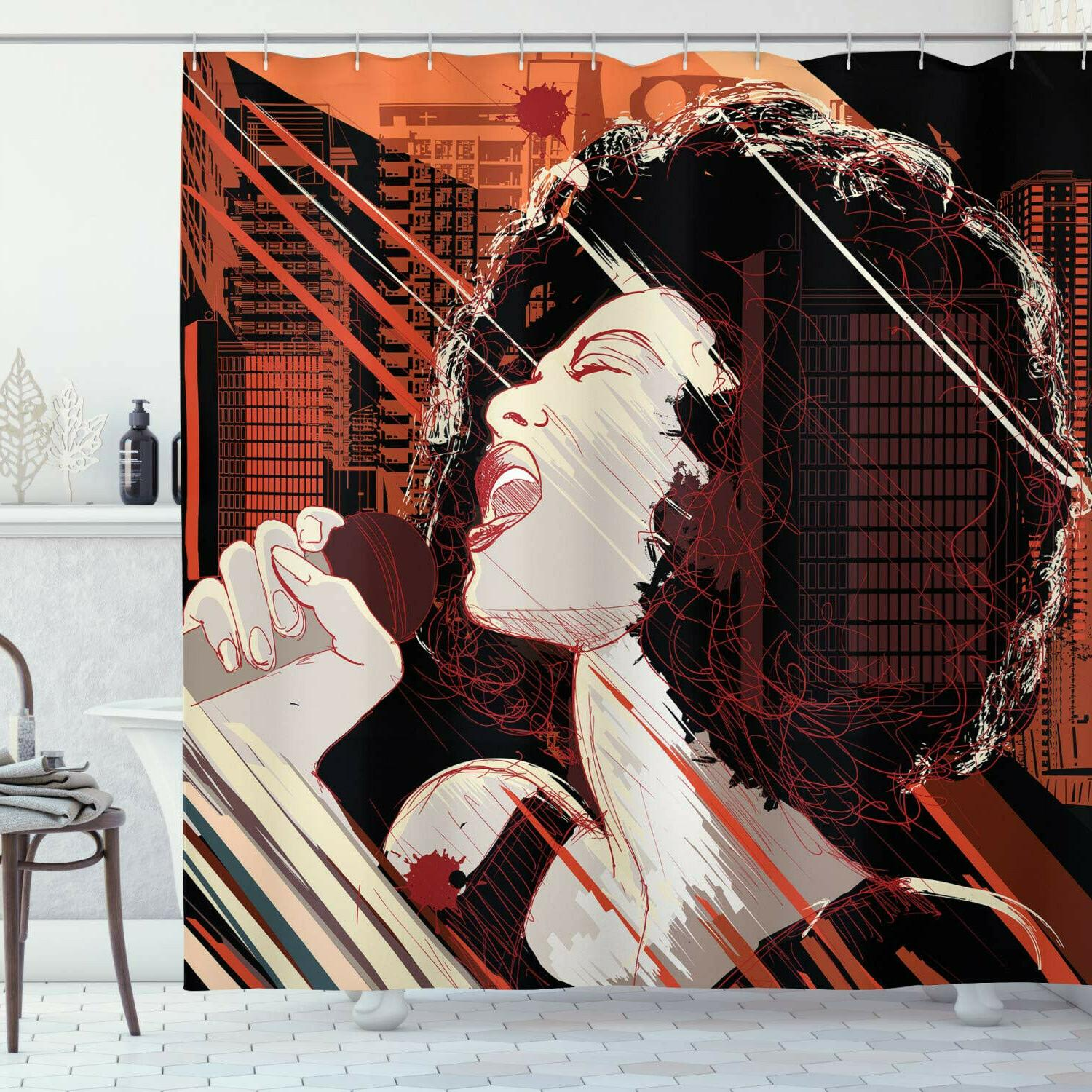 african shower curtain jazz singer woman performing