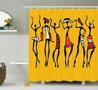 African Shower Curtain Sketchy Ethnic Dancer Print for Bathr