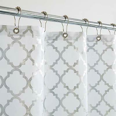 silver gray fabric shower curtain for bathroomstriped