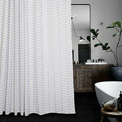 Aimjerry Waterproof Striped Fabric Shower Curtain Black and