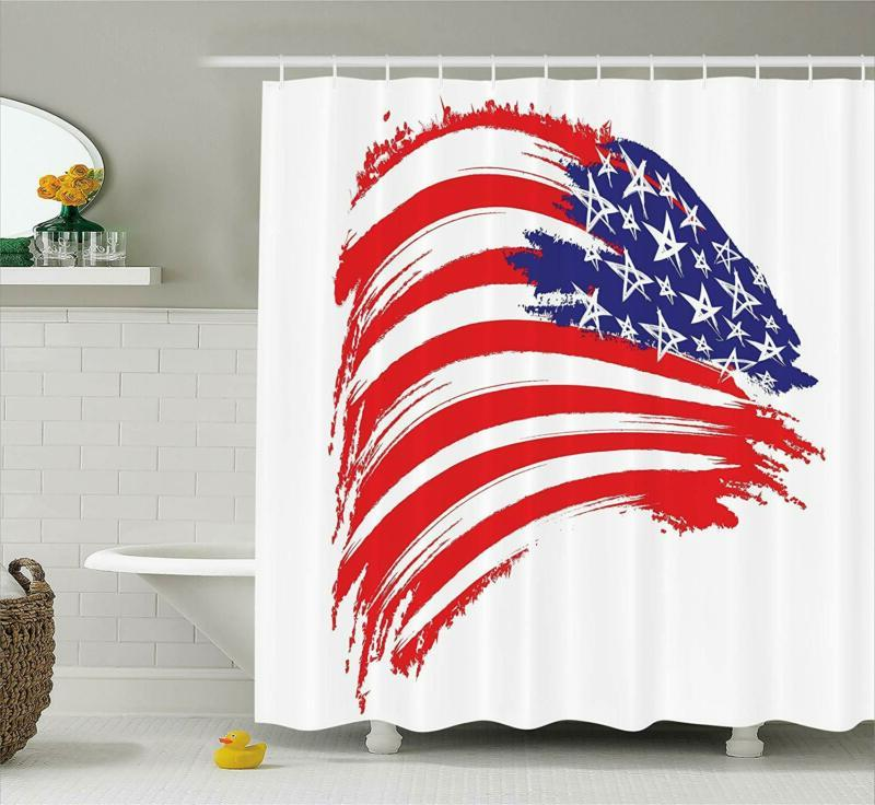 american flag decor shower curtain by sketchy