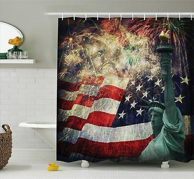 Ambesonne American Flag Decor Shower Curtain Composite Photo