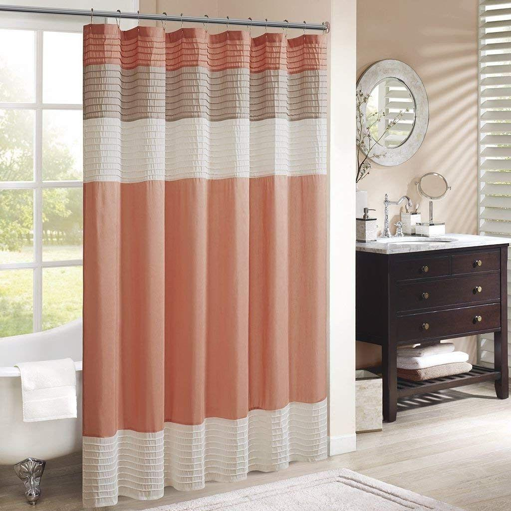 amherst fabric coral shower curtain piecedtransitional salmo