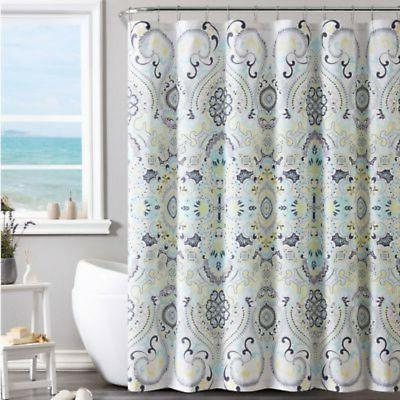 amherst shower curtain in yellow blue