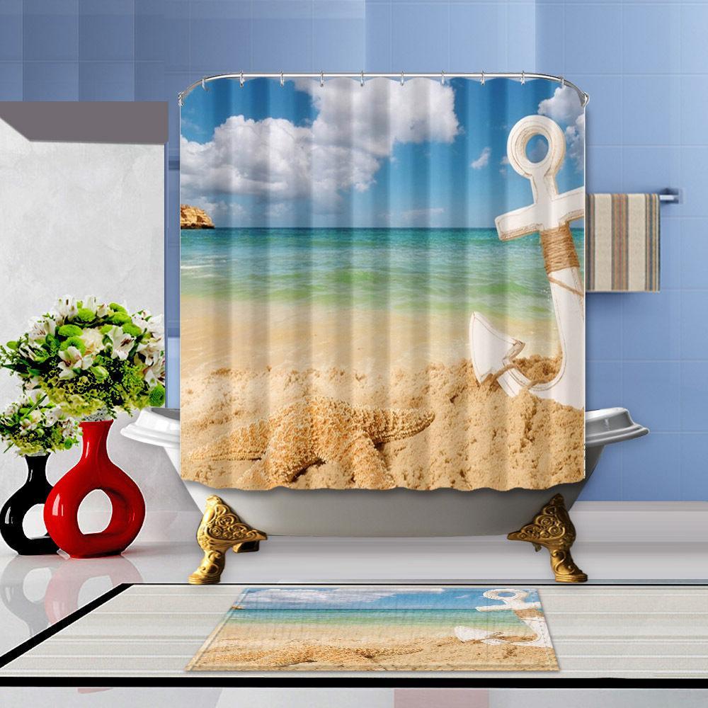 Anchor and starfish Shower Curtain Bath Rug Mat Contour 12 H