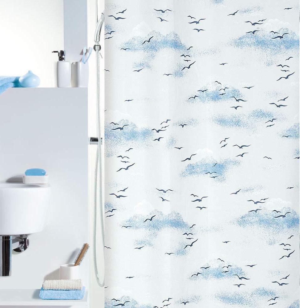 Spirella Annick BIRDS Shower Curtain 120x200cm PEVA Sky Blue