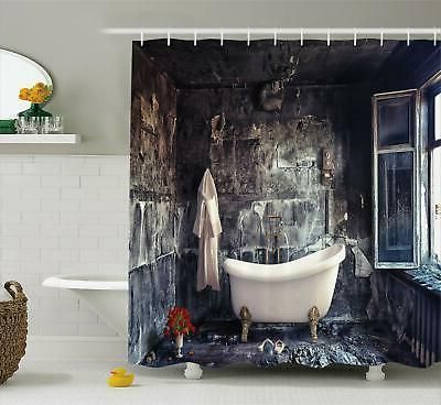 antique shower curtain bathtub in old room