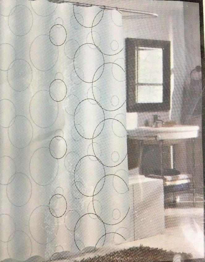 Ava Polyester Shower Geometric, White, Curtain, Adult,