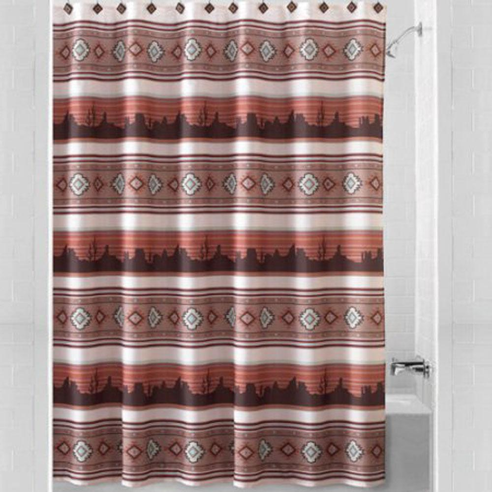 Mainstays Aztec Sunset Shower Curtain Southwestern Theme Bat