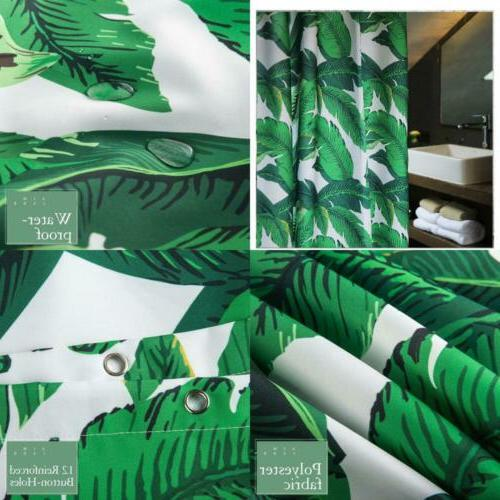 banana leaves shower curtain green