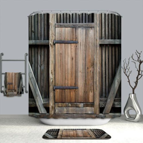 barn door shower curtain decor set wooden