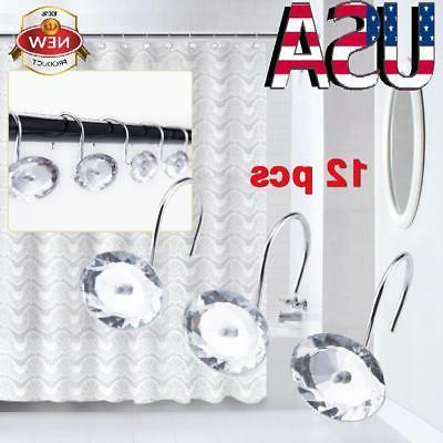12 Pcs Decorative Rolling Shower Curtain Hooks Crystal Rhine