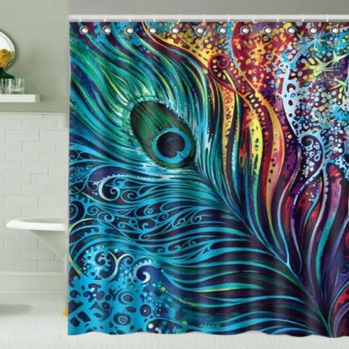 Shower Curtain Decor Set Peacock Feathers Pattern Bathroom C