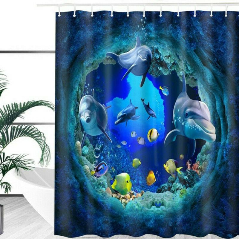 blue ocean dolphin deep sea bathroom shower