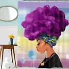Bathroom Shower Curtains Traditional African Women with Purp