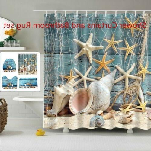 Beach Conch Starfish Shell Print Bathroom Decoration Mildew-