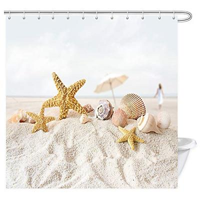 beach decor shower curtain tropical hawaiian seashells