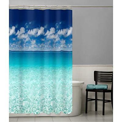 beach scene shower curtain ocean vinyl photo
