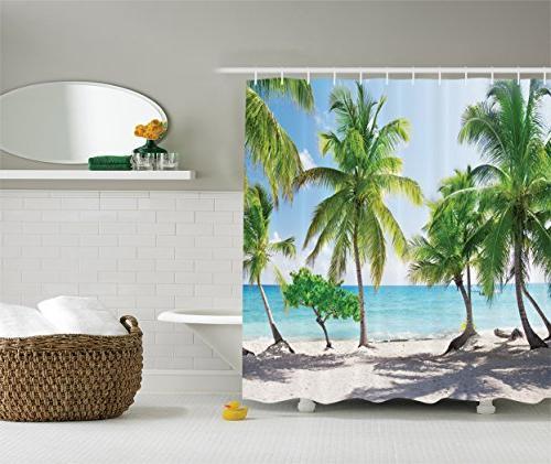 beach shower curtain palm tree