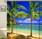 Beautiful Beach Tropical Paradise Palm Tree Shower Curtain P